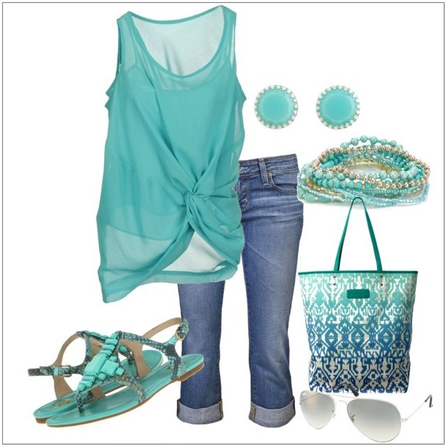 CHATA'S DAILY TIP: It's the weekend!!! Add splashes of cool turquoise: A breezy blouse, strappy flat sandals and a bag-to-die-for to your casual denim capri pants and you are ready for the pool, the beach or the Mediterranean! 3/4 pants should be worn at the end of your calf muscle, not in the m