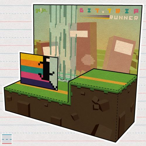 """Paper Foldables commission for Gaijin Games promoting their video game, """"BIT.TRIP RUNNER""""..."""