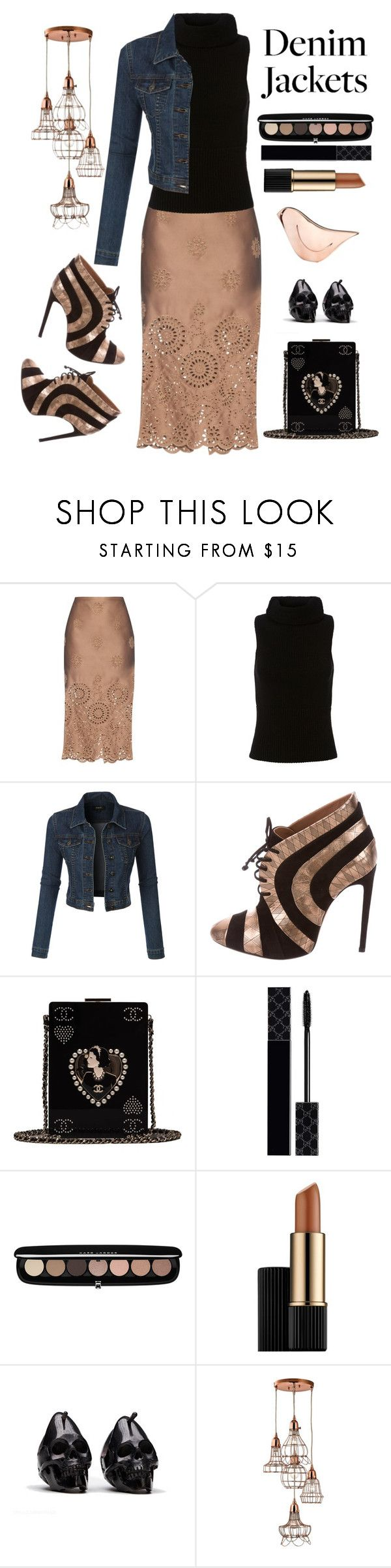 """Metallic and Denim"" by loves-elephants ❤ liked on Polyvore featuring Rochas, Exclusive for Intermix, LE3NO, Chanel, Gucci, Marc Jacobs, Estée Lauder, G1 and Cyan Design"