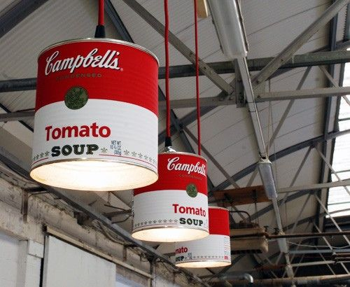 Love the idea of repurposing stuff, like ginormous soup cans, into lamps. This is a permalink.