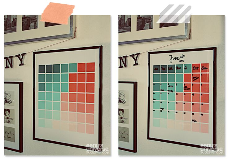 mint and coral ombre paint chip art calendar.