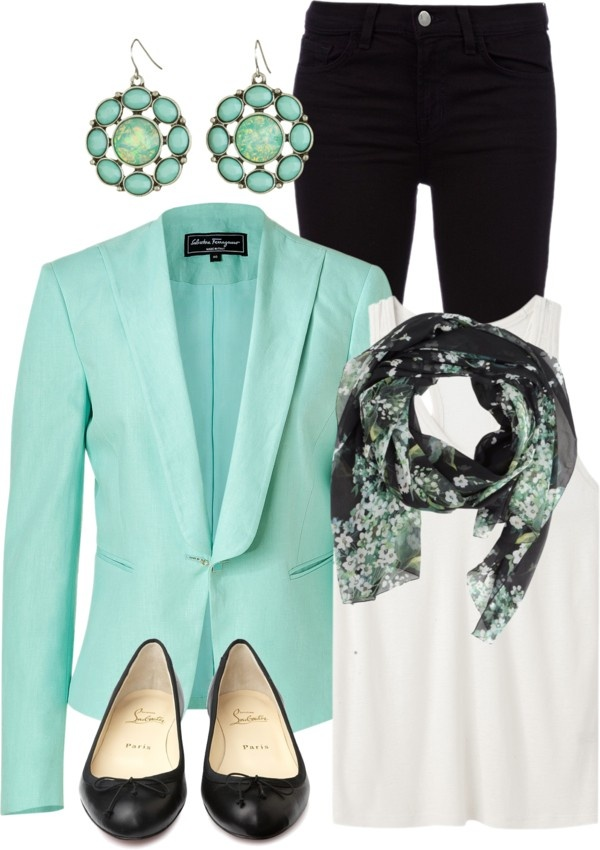 """Turquoise Blazer"" by qtpiekelso on Polyvore"