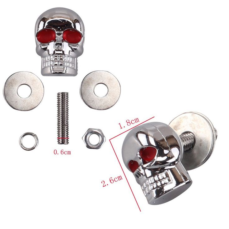 6mm Chrome Red Eye Motorcycle Skull License Plate Frame Bolts Screws Caps ATV Quad Trailer Hotrod & Ratrod Car Truck