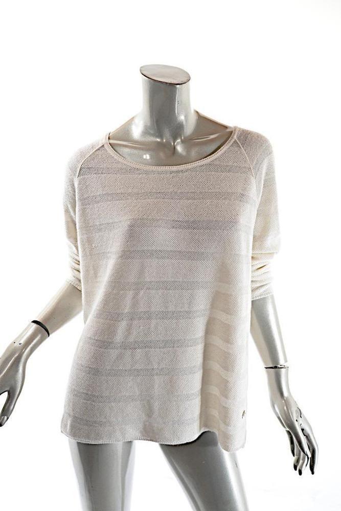 9748da82a LORO PIANA Ivory Cashmere Silk Blend Stripe Weave Tunic Sweater SOFT ...