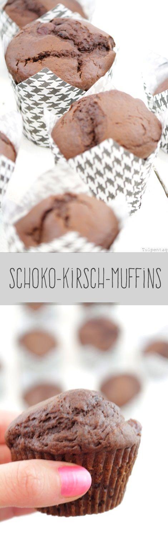 Schoko-Kirsch-Muffins mit flüssigen Schokostückchen im Innern #schokolade…