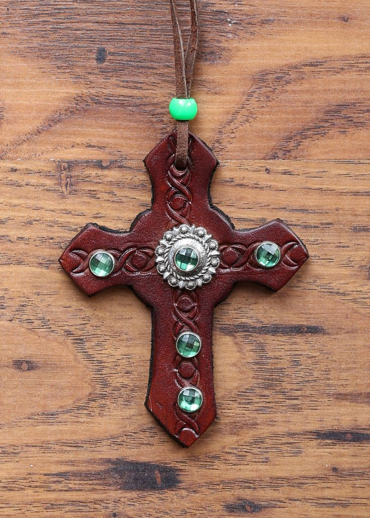 Leather Cross with Emerald Embellishment by KellysLeatherDesign on Etsy