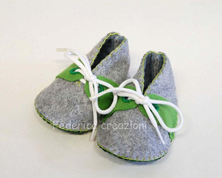 scarpe neonato in feltro, maschio,0-3 mesi, mamma,grigio,verde,nascita,fatto a mano : Moda bebè di federica-creazioni