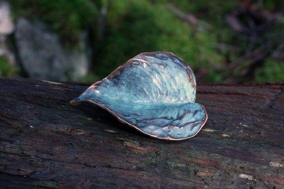 Heart Shaped Leaf Sculpture in blue green by EarthlyCreature