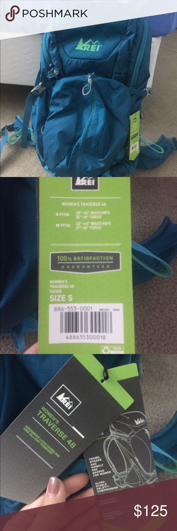 REI women's traverse 46 liters size small Size small women's traverse 48 Tahoe ... size small is 46 liters and includes a rain cover inside. Never used before but bought it last season. Realized I'm better fit for a suitcase. 🤷🏼♀️ 125 obo brand new it was about 150 since I've never warm it before I'm asking 125 but willing to negotiate. Let me know if there are any questions! :) REI Bags Travel Bags