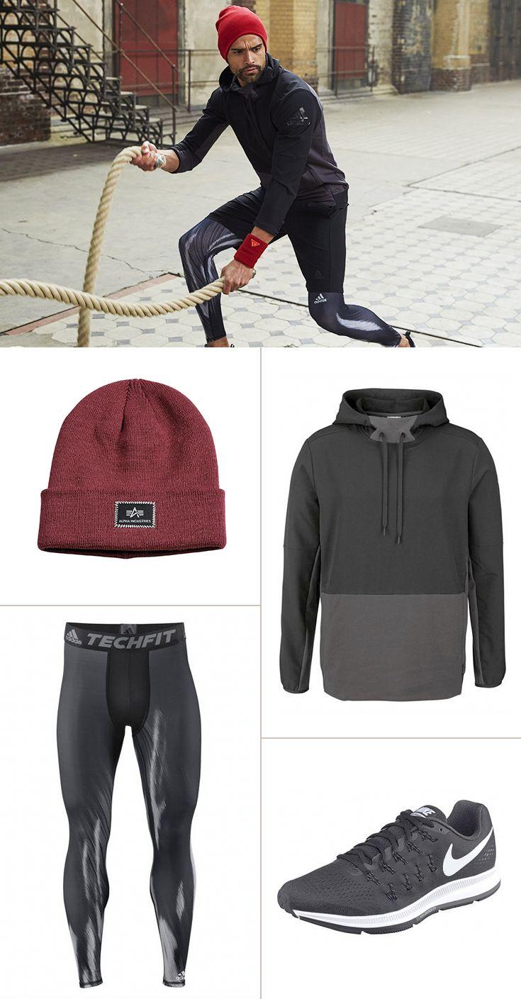 """Auch beim Sport will """"Mann"""" gut aussehen – dafür haben wir dieses coole Outfit mit Styles von Adidas Performance, Alpha Industries und Nike zusammengestellt!"""