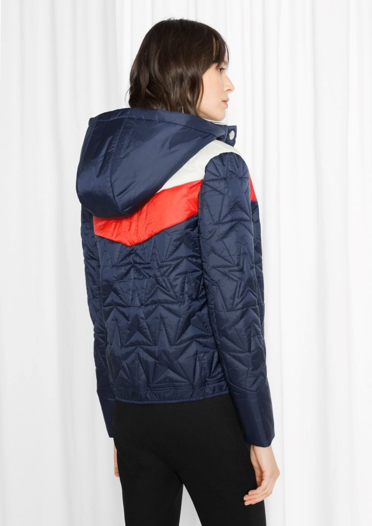 & Other Stories image 3 of Quilted Hood Jacket  in Blue