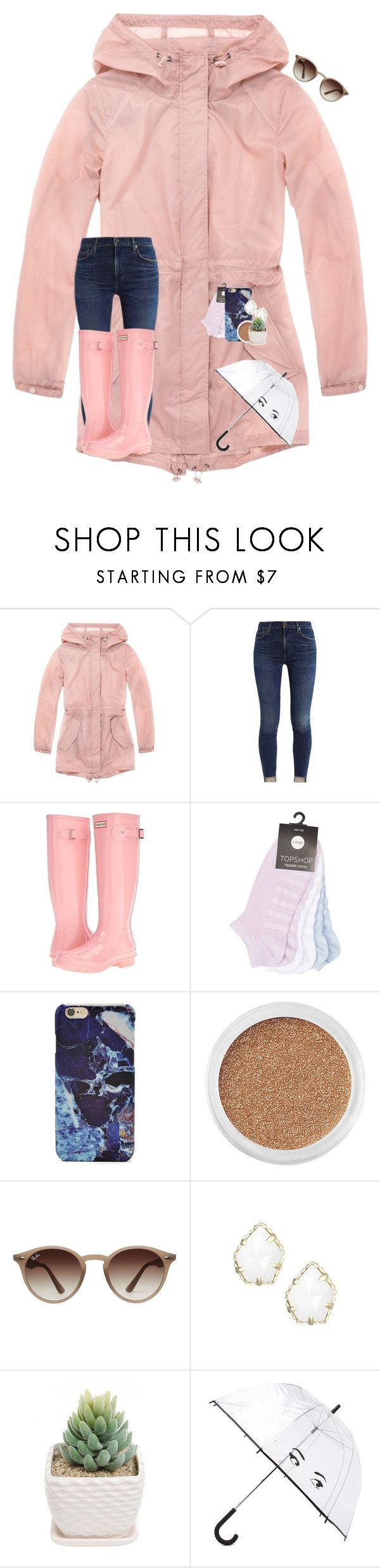 """""""•rain rain go away ☔️•"""" by mackenzielacy814 on Polyvore featuring Andrew Marc, Hunter, Topshop, Forever 21, Bare Escentuals, Ray-Ban, Kendra Scott, Kate Spade and mrlloves"""