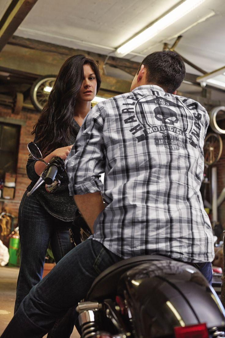 Bring him skulls of holly.   Harley-Davidson Men's Skull Shield Plaid Shirt