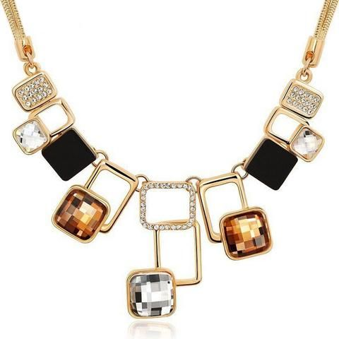 60ies Inspired Vintage Jewellery - Geom Crystal Necklace Collier