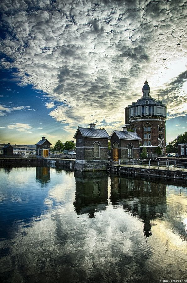 A quiet place in the city of Rotterdam : The old water tower in Rotterdam in the Esch was designed by architect CB van der Tak and was built in 1871-1873.