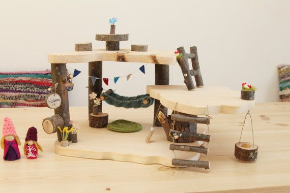 Wooden Treehouse Dollhouse. Waldorf Gnome and Fairy Home.