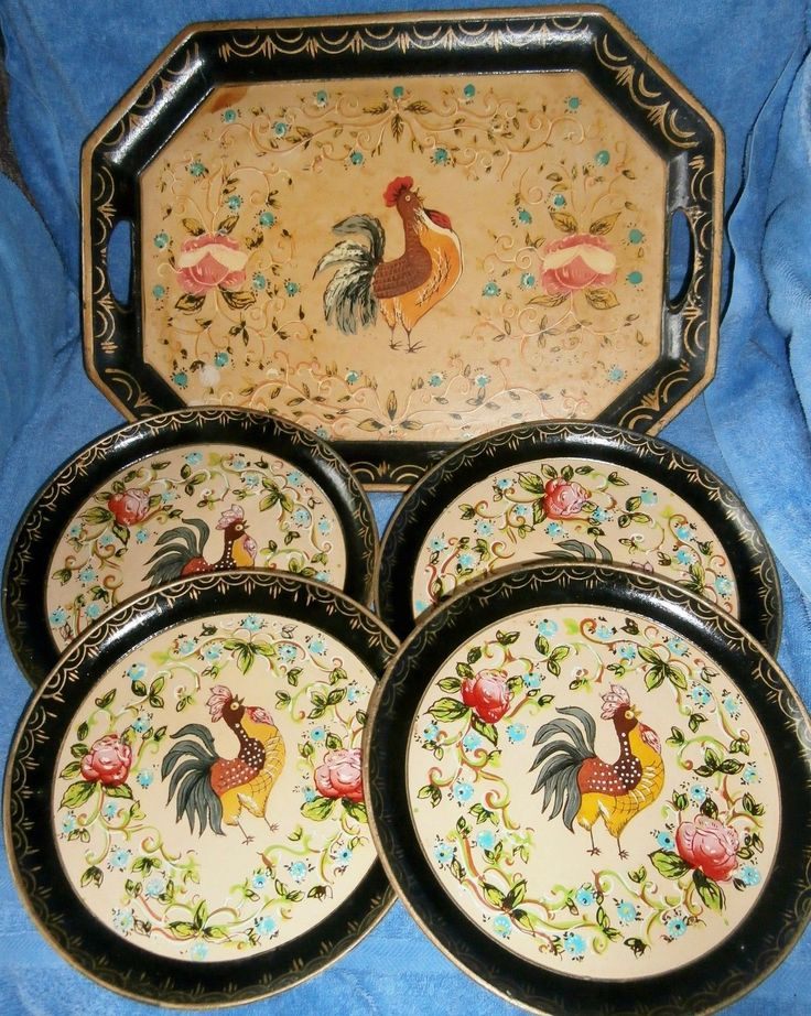 5 Pcs Vintage Black Hand Painted Isco 4 Plate 1 Tray With