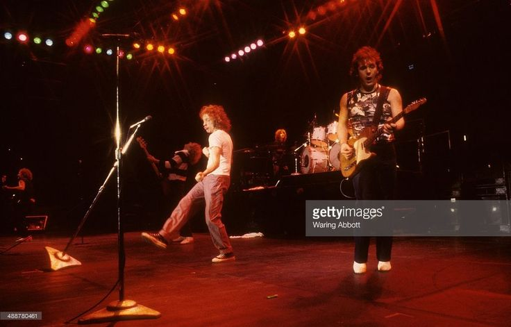 British lead guitarist Mick Jones, British bassist Rick Wills, American vocalist Lou Gramm, American keyboardist Al Greenwood and British Rhythm guitarist and multi-instrumentalist Ian McDonald of the British-American rock group Foreigner performing live at New Haven Veteran's Coliseum on January 1, 1979 in New Haven, Connecticut.