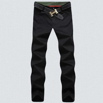 Cotton washed casual pants men straight trousers