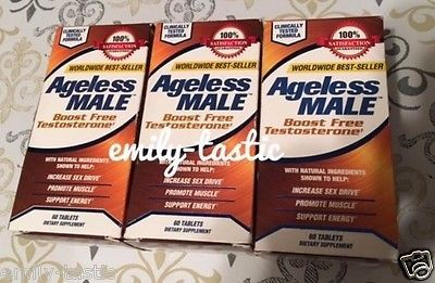Health And Fitness: Ageless Male Testosterone Booster 60 Tablets Exp: 2018 New Vitality Bottle 3Pack BUY IT NOW ONLY: $55.99
