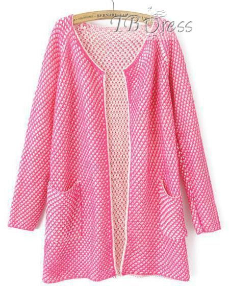 Candy Color Grid Long Sleeve Cardigan