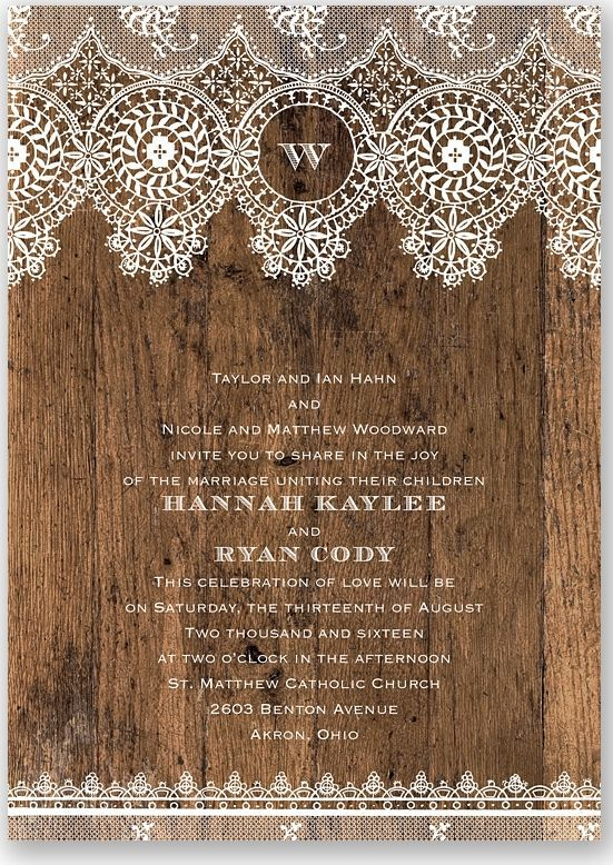Soften a rustic vintage invitation with classic lace.