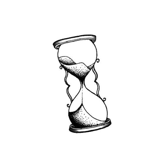 Sablier – Tatouage Temporaire (Ensemble de 4)