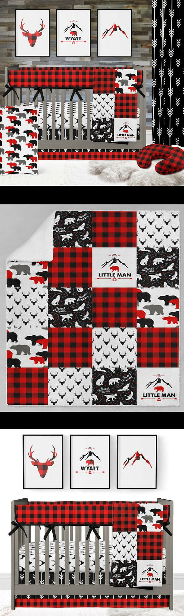 This buffalo plaid deer crib bedding set will complete your rustic baby boy nursery. Featuring a plaid rail guard, buck crib sheet, and a buffalo check trimmed crib skirt in the bold palette of red and black.  #crib #nursery #lumberjack #rustic #babyboy #affiliate