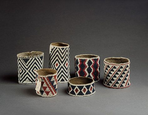 Six Rare Vanuatu, New Hebrides, Men's Arm Bands | Shell discs, European glass beads, bark fibre | Late 19th Century | Sold