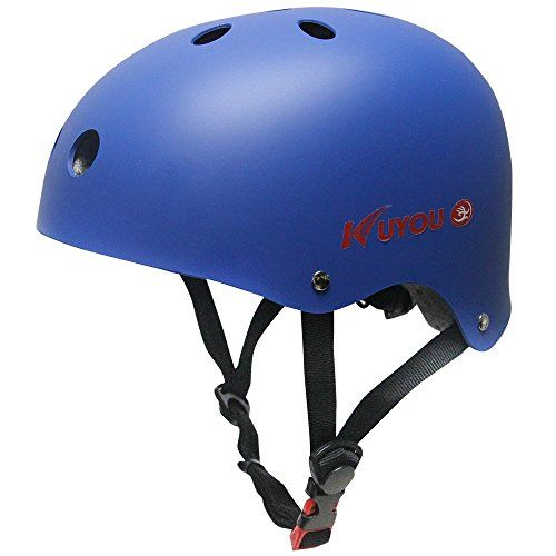 Skateboarding Helmets - KuYou Kids Skateboarding HelmetUltimate Adjustable ABS Shell for Children Cycling SkateboardScooter Skate Inline Skating Rollerblading Protective Gear Suitable BoysGirlsS Blue >>> Be sure to check out this awesome product.