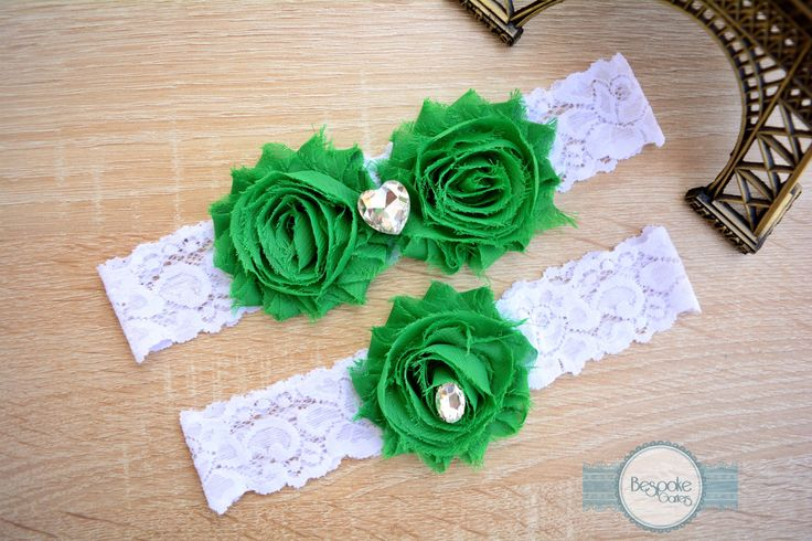 Emerald Green Bridal Garter of White Lace & Crystal Clear Rhinestone - by BespokeGarters by BespokeGarters on Etsy