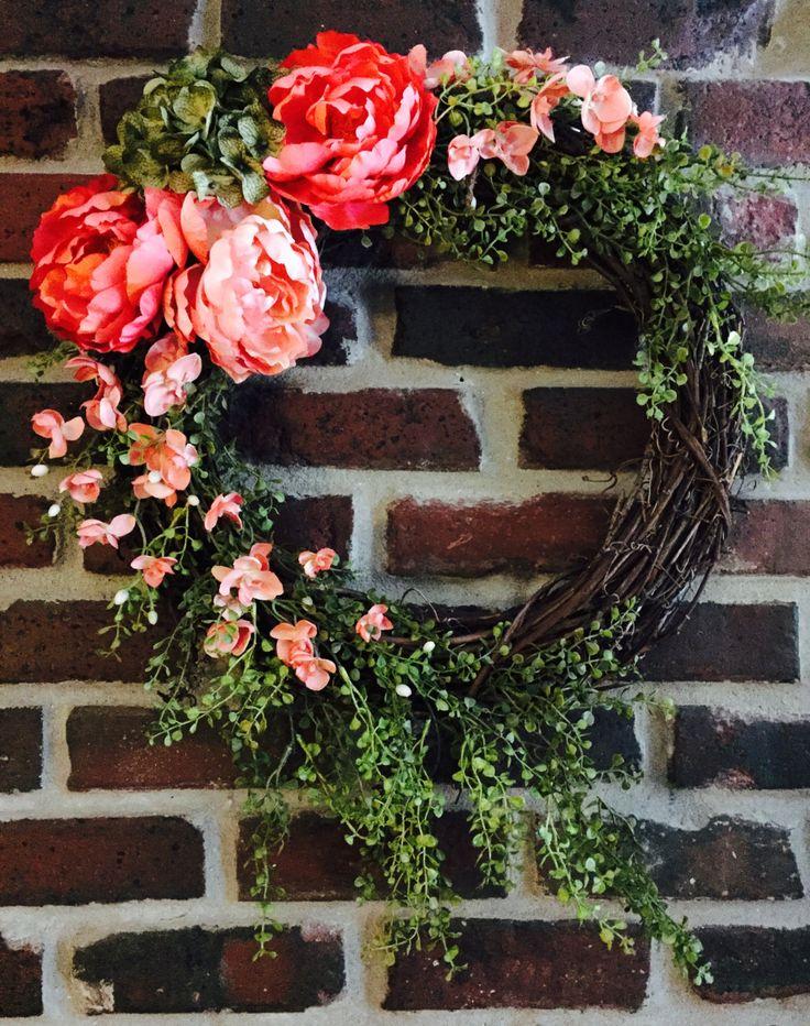Spring Wreath Front Door Hydrangea Wreath Summer Wreath Peony Wreath Orchid  Wreath