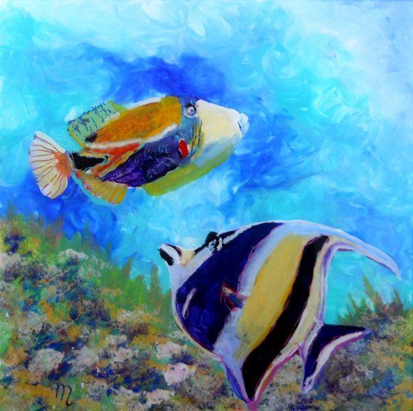 Hawaiian tropical fish 2 original reverse acrylic painting for Tropical fish painting