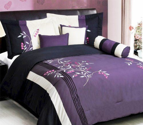 Purple Black, White, Pink Comforter Set Vine Bed In A Bag