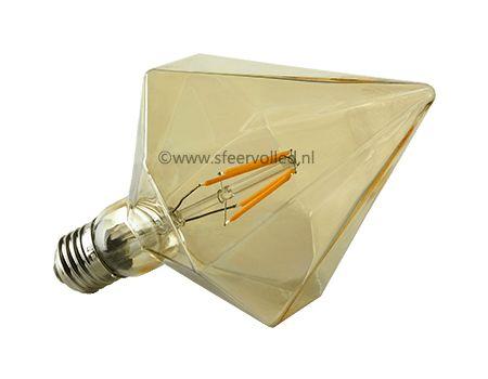 Piramide Led lamp Piramide vormige Led lamp D110-4W E27 amberkleur glas