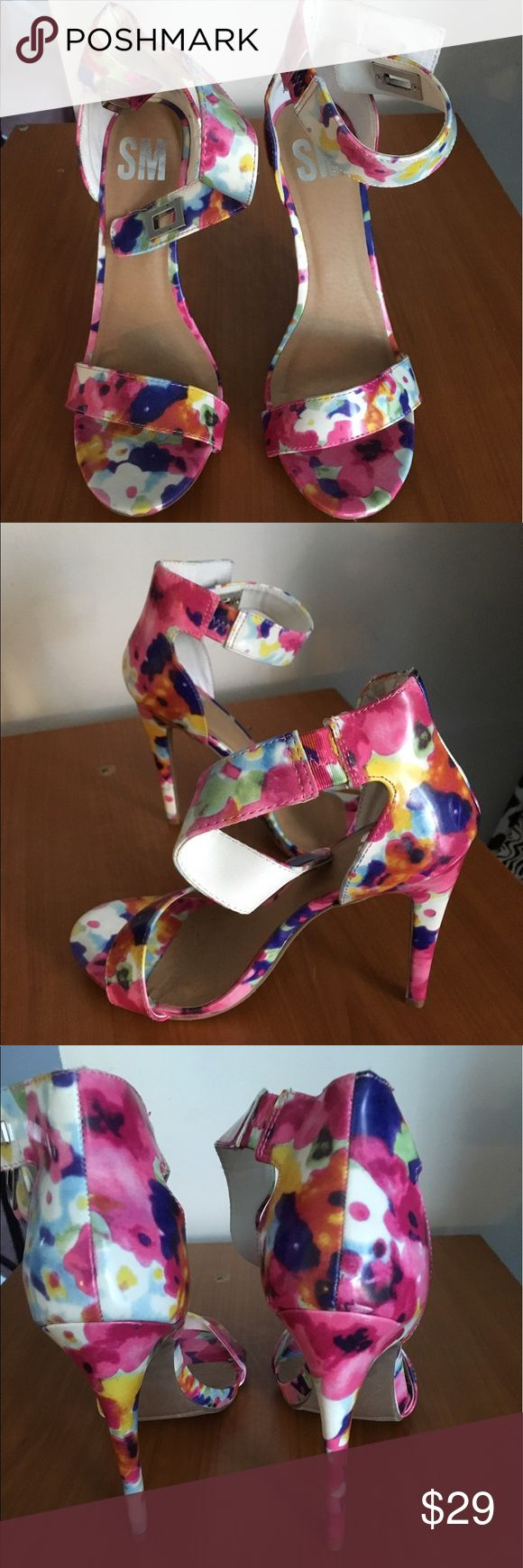 SM Multi Color Sandal Heels In very good condition. Worn 1 time. Heel height is approx 5 inches. SM Shoes Heels
