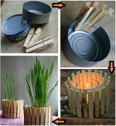 Repurpose tuna cans: Tuna, Clothes Pin, Candle Holders, Candles, Diy, Craft Ideas, Crafts