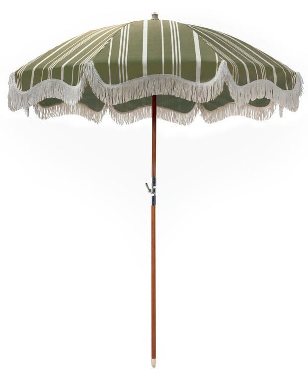 Vintage Print Premium Beach Umbrellas With Fringe Business Pleasure Co Vintage Green Beach Umbrella Green Stripes