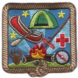 Outdoor, Skill, Fire, Tent, Cross, Track, Compass, Star, Knot, Patch, Embroidered Patch, Merit Badge, Badge, Emblem, Iron On, Iron-On, Crest, Lapel Pin, Insignia, Girl Scouts, Boy Scouts, Girl Guides
