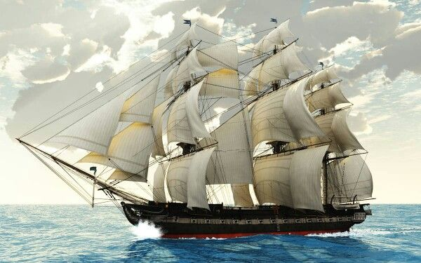 """USS Constitution, Old Iron Sides under full sail. While engaged in a dramatic naval victory, the USS Constitution earned her nickname """"Old Ironsides"""" when an unnamed sailor said, """"Huzzah, Her sides are made of iron"""