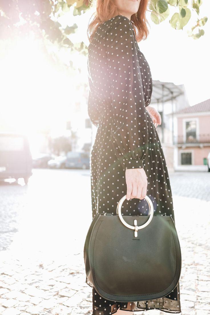 polkadot midi dress and ring handbag