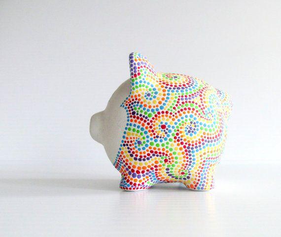 Hucha de arco iris: Pintado a mano pintura por PearlesPainting