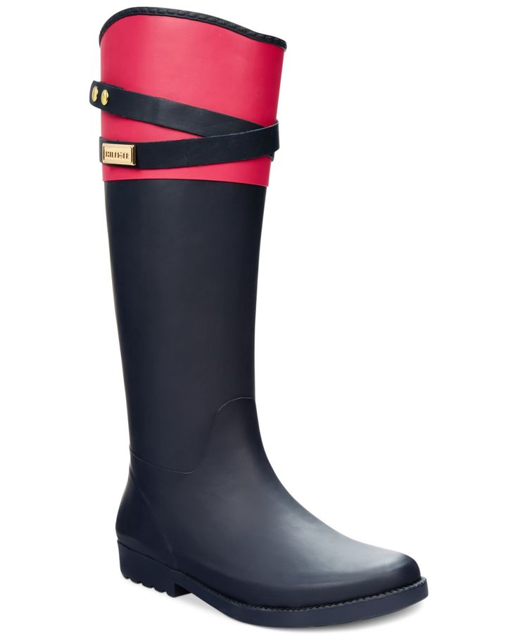 Tommy Hilfiger Women's Coree Tall Rain Boots - Shoes - Macy's  ❤️❤️❤️ love pink and greenish. Size 8