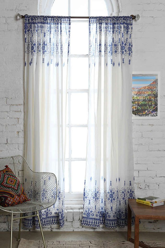 exotic bordered sheers in mulitple lengths~  Magical Thinking Henna Curtain - Urban Outfitters