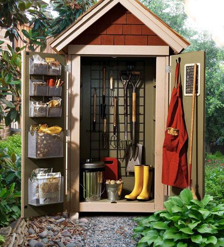 diy garden closet storage project small but compact this shed will hold most of your gardening tools so theyre close by and well organized