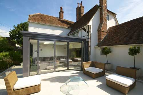 Flat roof glass living room extension