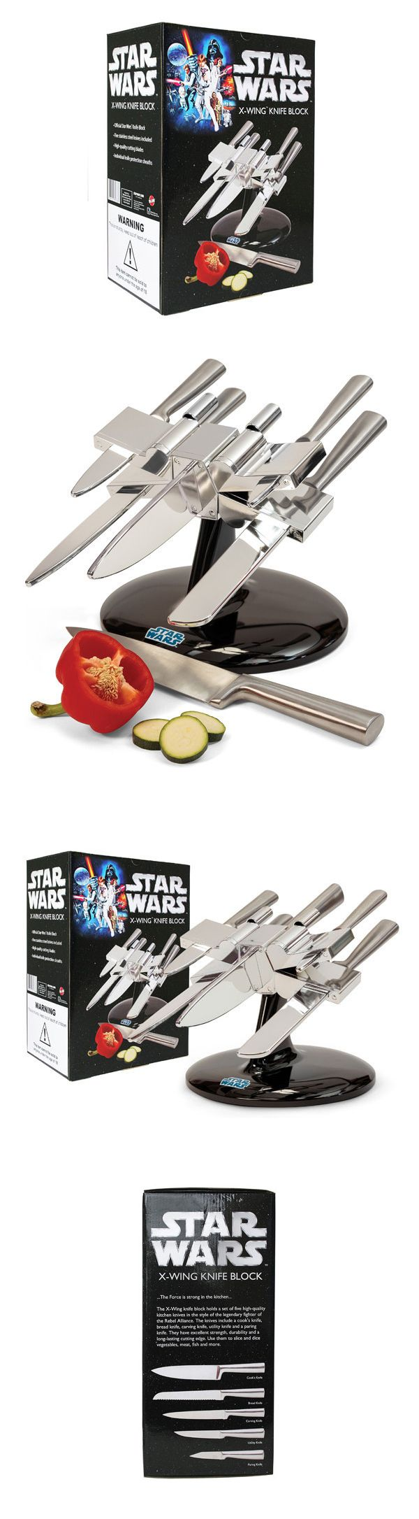 """A Knife Holder Shaped Like an X-Wing Starfighter From 'Star Wars'  The officially licensed Star Wars X-Wing Starfighter Knife Holder from The Fowndry will """"give your regular old kitchenware a rebellious kick in the vegetables."""" Their chrome-effect plastic knife holder comes loaded with five stainless steel knives and is available to purchase online."""