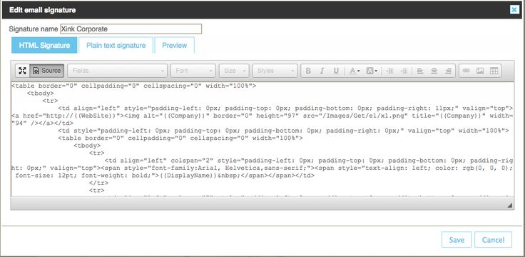 HTML email signature format