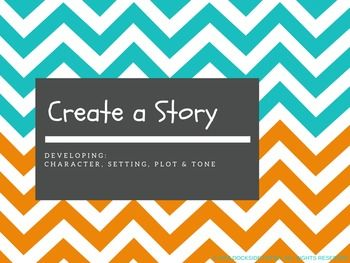 """Free no prep presentation for Middle School Language Arts teachers. """"Create a Story"""" activity emphasizing character, setting, plot & tone."""