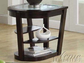 Amazon Acme 80016 Capri Cracle Glass Top End Table Espresso Finish TablesLiving Room